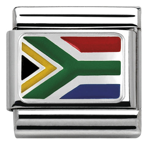Nomination Silver & Enamel South Africa Flag Charm 330207 05
