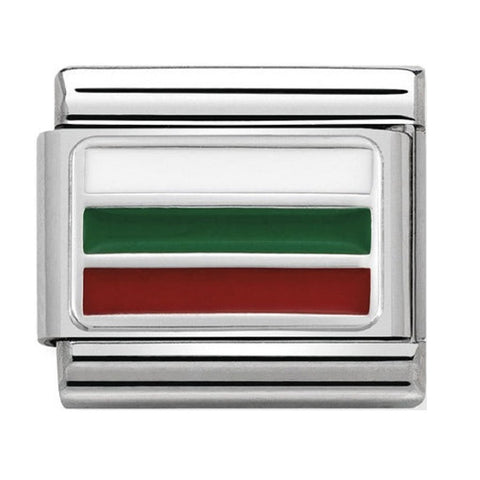 Nomination Silver & Enamel Bulgaria Flag Charm 330207 25