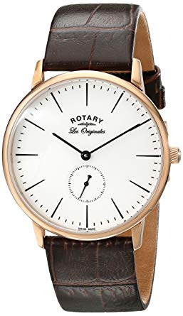 Rotary Les Originales Rose Gold Brown Leather Strap Mens Watch GS90053/02