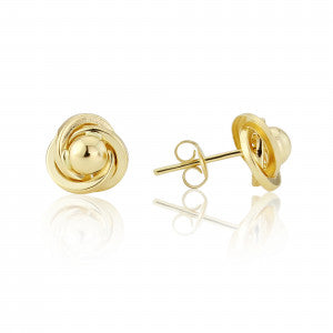 9ct Gold Knot & Ball Stud Earrings 8H03Q
