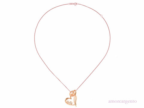 Amore Rose Gold Plated Hearts Entwined Necklace 9006 3110002