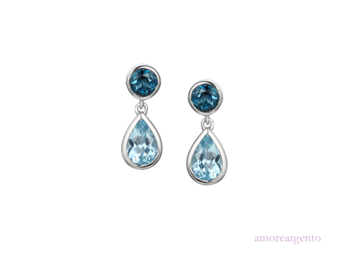 Amore Sterling Silver Duo Bleu Earrings 9104