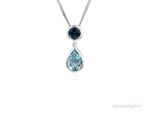 Amore Sterling Silver Duo Bleu Necklace 9105