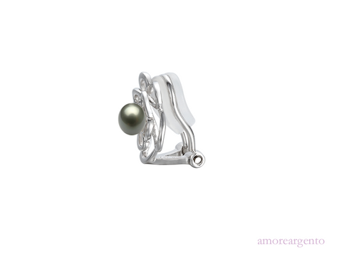 Amore Dreamy Black Pearl Clip Earrings 9116