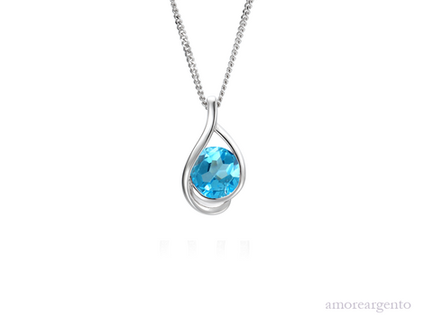 Amore Viola Blue Necklace 9124SILBT