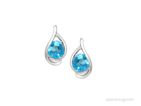 Amore Viola Blue Stud Earrings 9125SILBT