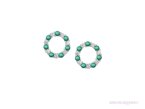 Amore Circle of Life Emerald Earrings