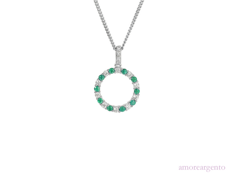 Amore Circle of Life Emerald Necklace