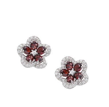Amore Sterling Silver Camellia Garnet Earrings 3103011
