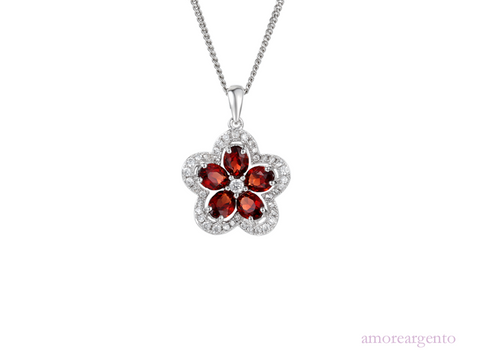 Amore Sterling Silver Camellia Garnet Necklace 3104015