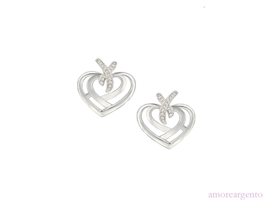 Amore Sterling Silver Love & Kisses Cute Earrings