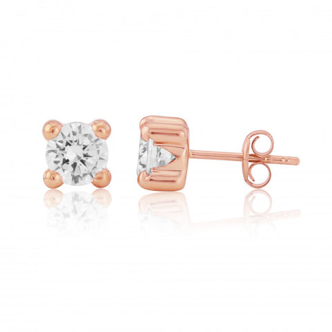 9ct Rose Gold CZ Stud Earrings 8H96RCZ 0303105