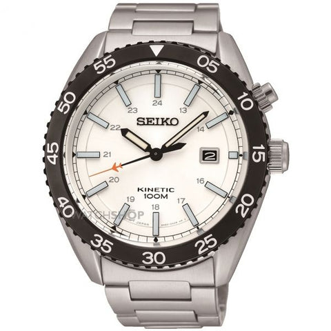 Seiko Kinetic Silver Dial with Stainless Steel Bracelet Mens Watch