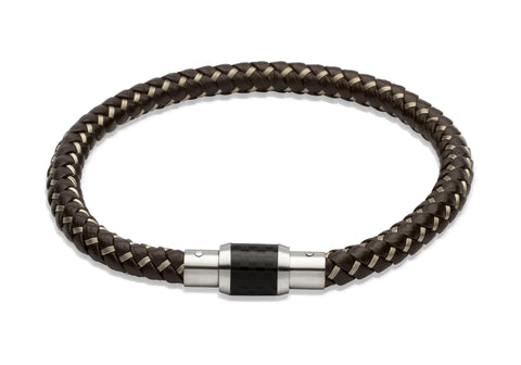 Unique & Co - Brown Leather & Stainless Steel Mens Bracelet B241DB/21CM