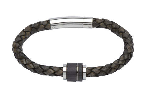 Unique & Co - Grey Leather & Stainless Steel with Carbon Bracelet B276ABL/21 3005157