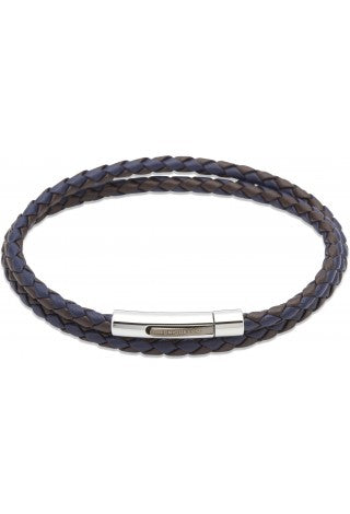 Unique & Co - Blue and Brown Leather Double Bracelet B317DB