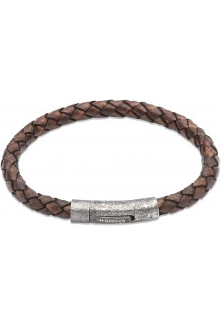 Unique & Co - Antique Dark Brown Leather Mens Bracelet B322ADB