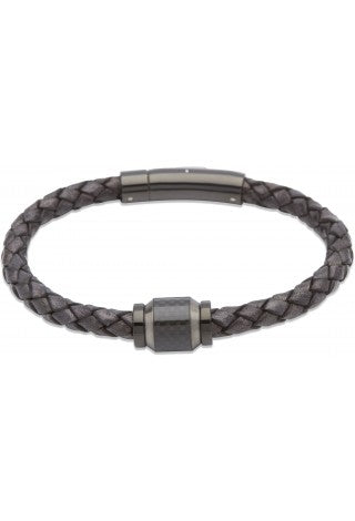 Unique & Co - Antique Black and Carbon Fibre Leather Mens Bracelet B327ABL