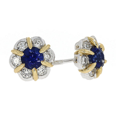 18ct Yellow & White Gold Diamond & Sapphire Flower Cluster Stud Earrings B353 0303320