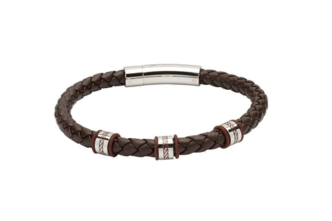 Unique & Co - Stainless Steel & Brown Leather Mens Bracelet B374DB/21 3005323