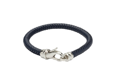 Unique & Co - Blue Leather & Stainless Steel Mens Bracelet B380BLUE/21 3005318