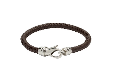 Unique & Co - Brown Leather & Stainless Steel Mens Bracelet B380DB/21 3005319