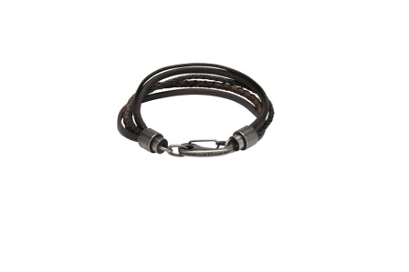 Unique & Co - Black & Dark Brown Leather Mens Bracelet B435BD/21 3005383