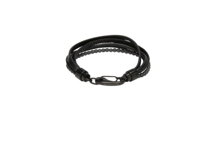 Unique & Co - Black Leather & Grey Hematite Beads Mens Bracelet B435BL/21 3005381