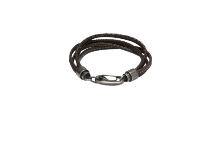 Unique & Co - Dark Brown Leather Mens Bracelet B435DB/21 3005384