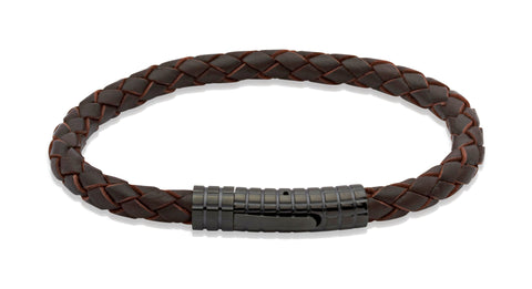 Unique & Co - Brown Leather & Black Stainless Steel Bracelet B71DB/21 3005306