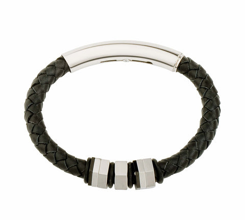 Jos Von Arx - Leather & Steel Adjustable Bracelet COB04
