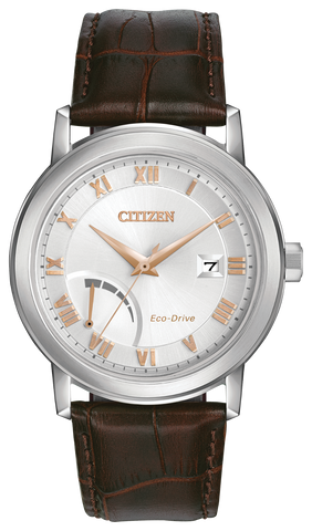 Citizen Mens Eco Drive PRT Brown Leather Watch AW7020-00A 1003261