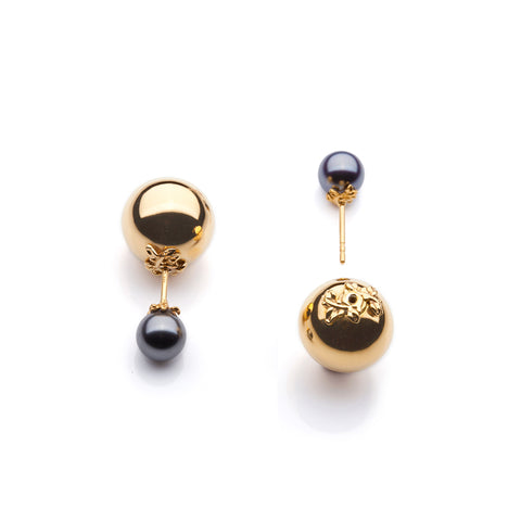 Kasun London Gold Orb & Pearl Stud Earrings E068GG 4403010 Sale