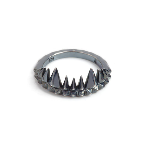 Kasun London Oxidised Silver Crocodile Bite Ring Size M R061 4401011 Sale