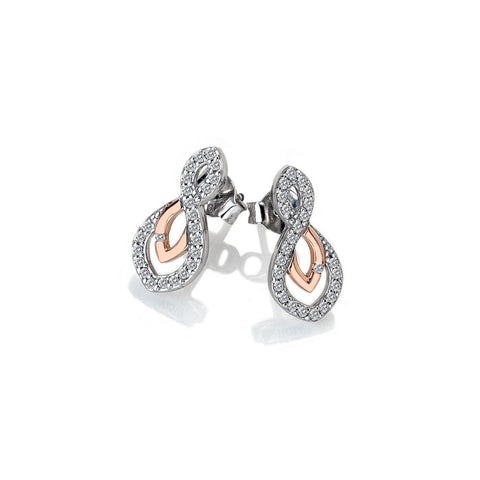 Hot Diamonds Rose Gold Plated Harmony White Topaz Earrings DE608