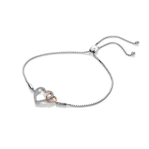 Hot Diamonds Rose Gold Plated Togetherness Open Heart Bracelet DL590