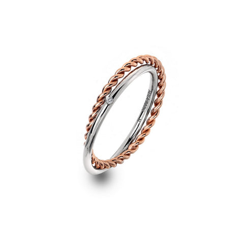 Hot Diamonds Rose Gold Plated Unity Ring DR211