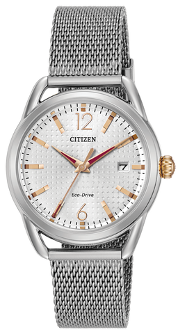 Citizen Ladies Eco Drive Rose Gold Mesh Watch FE6081-51A