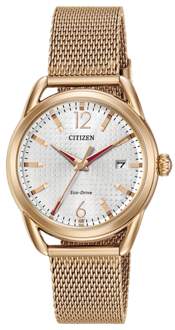 Citizen Ladies Eco Drive Rose Gold Mesh Watch FE6083-72A