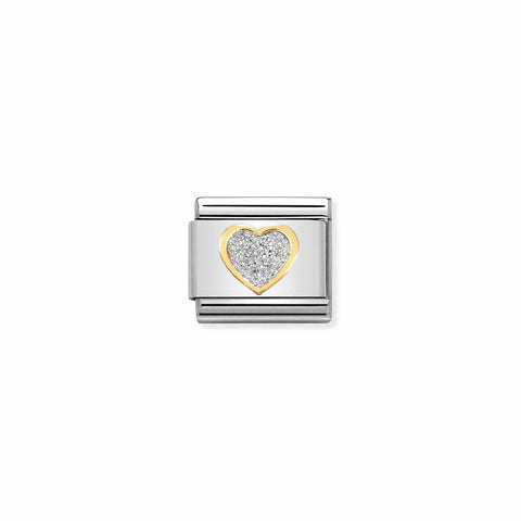 Nomination 18ct Gold & Glitter Heart Charm 030220 02
