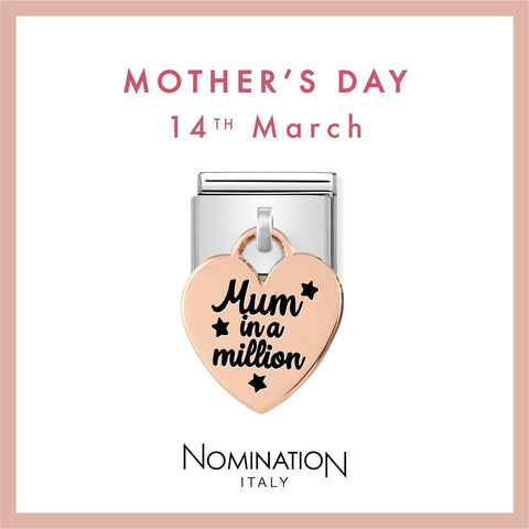 Nomination Limited Edition 9ct Rose Gold Hanging Mum in a Million Charm 431802 02