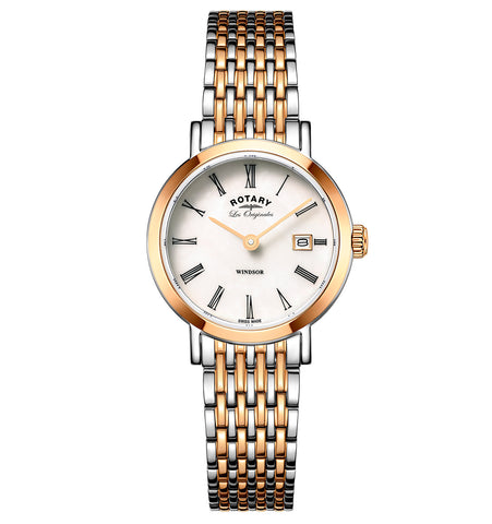 Rotary Two Tone Rose Gold Windsor Ladies Watch LB05302/01