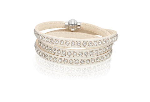 Sif Jakobs - Arezzo White Leather with White CZ Bracelet SJ-BR2359-WH/57 4005100