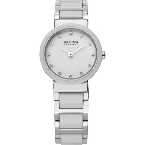 Bering Ladies Polished Silver & White Ceramic Watch 10725-754
