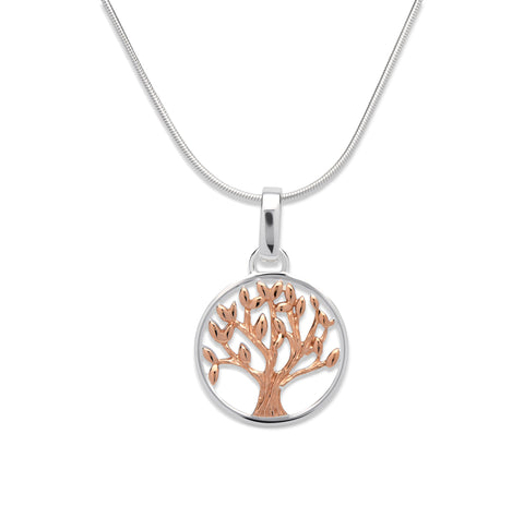 Unique & Co - Silver & Rose Gold Tree of Life Pendant MK-584 3010022