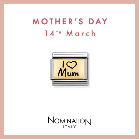 Nomination Limited Edition 18ct Gold & Enamel I Love Mum Charm 030166 01