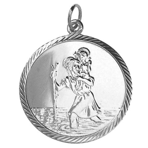 Sterling Silver 25mm St Christopher Pendant P9106S37 0402339