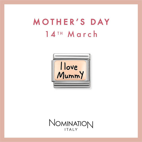 Nomination Limited Edition 9ct Rose Gold & Enamel I Love Mummy Charm 430111 02