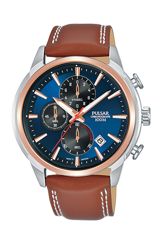 Pulsar Gents Brown Leather Chrono Watch PM3120X1 1005148