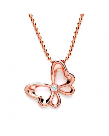 Purity 925 Rose Gold Plated & Cubic Zirconia Butterfly Pendant PUR3611P